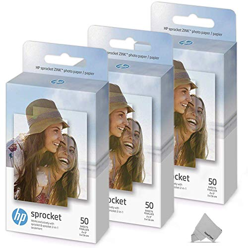 3 Pack of 50 HP Sprocket Photo Paper Sheets, Exclusively for HP Sprocket Portable Photo Printer, 2×3-inch, 150 Sticky-Backed Sheets + HeroFiber Ultra Gentle Cleaning Cloth