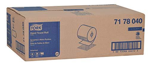 Tork 7178040 Advanced Paper Hand Towel Roll, I-Notch, 1-Ply, 7.5″ Width x 800′ Length, White Case of 6 Rolls, 800 Feet per Roll, 4,800 Feet per Case