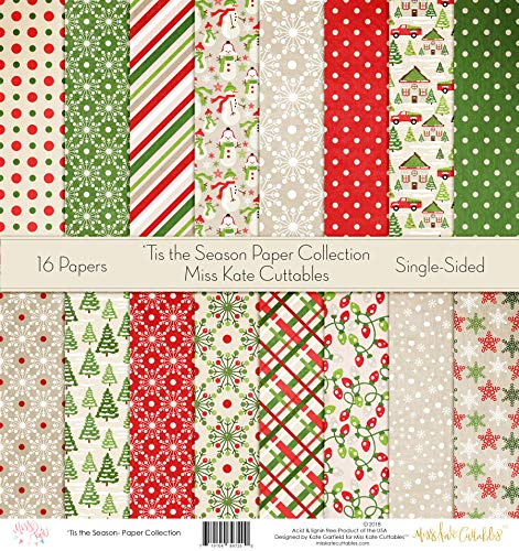 by Miss Kate Cuttables – Scrapbook Specialty Paper Single-Sided 12″x12″ Collection Includes 16 Sheets – Pattern Paper Pack – 'Tis The Season