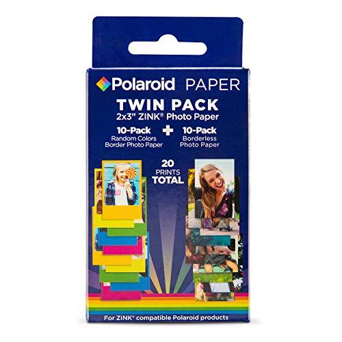 Polaroid 2×3 Zink Photo Paper 10 Borderles Sheets + 10 Color Border Sheets 20 Sheets for Zink Compatible Products.