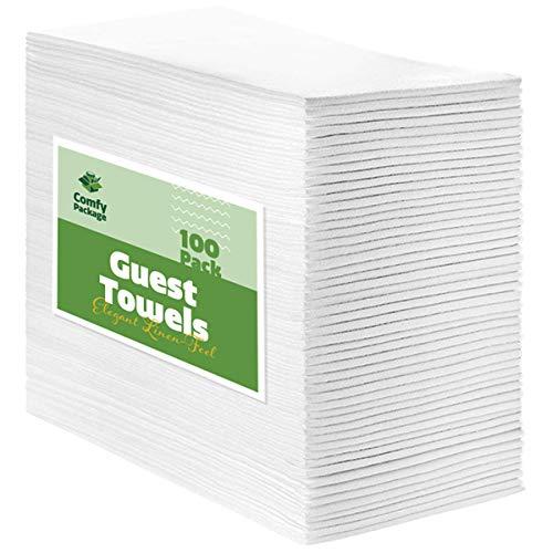 100 Pack Linen-Feel Guest Towels – Disposable Cloth Dinner Napkins, Bathroom Paper Towels, Wedding Napkins