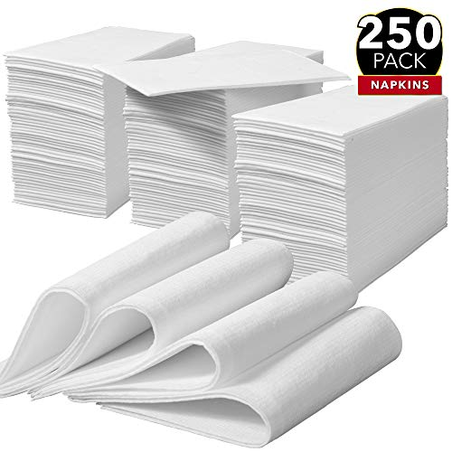 White   Disposable Guest Towels   Wedding Napkins   Paper Napkins   Disposable Hand Towels For Bathroom , Parties, Weddings, Dinners Or Events – 250 Linen Feel Dinner Napkins