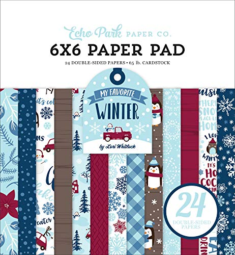 Echo Park Paper Company MFW193023 My Favorite Winter 6×6 Pad Paper, red, Blue, Teal, tan
