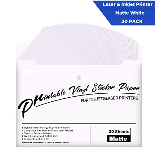 30 Pack Printable Vinyl Sticker Paper Matte White – Printable Vinyl for Inkjet Printer – Standard Size 8.5″x11″
