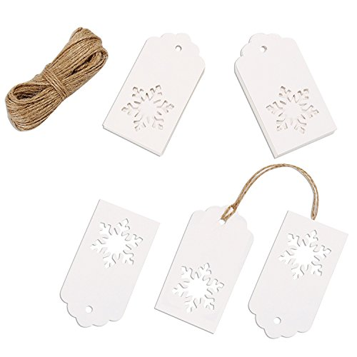 Whaline 100 Pcs Christmas Paper Tags Kraft Gift Tags Snowflake Shape Hang Labels with 30 Meters Twine for DIY Arts and Crafts, Wedding Thanksgiving and Holiday White