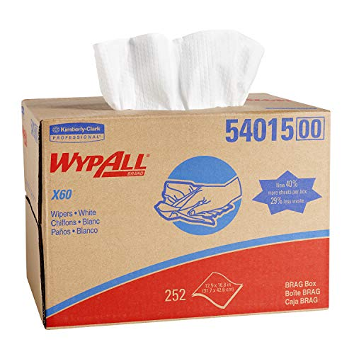 Wypall X60 Reusable Cloths 54015 in Brag Box, White, 252 Sheets/Box, 1 Box/Case