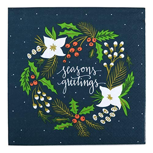 Iconikal Disposable Dinner Paper Party Napkins, Seasons Greetings Wreath, 48-Count