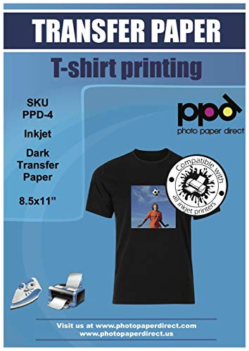PPD Inkjet Iron-On Dark T Shirt Transfers Paper LTR 8.5×11″ Pack of 10 Sheets PPD004-10