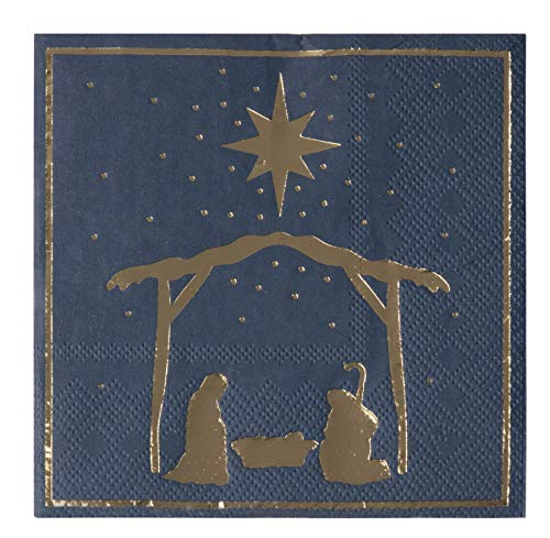 50-Pack Disposable Paper Napkins, Christmas Holidays Dinner Party Supplies, 3-Ply, Nativity of Jesus with Gold Foil Design, Navy Blue, Unfolded 10 x 10 Inches, Folded 5 x 5 Inches – Cocktail Napkins