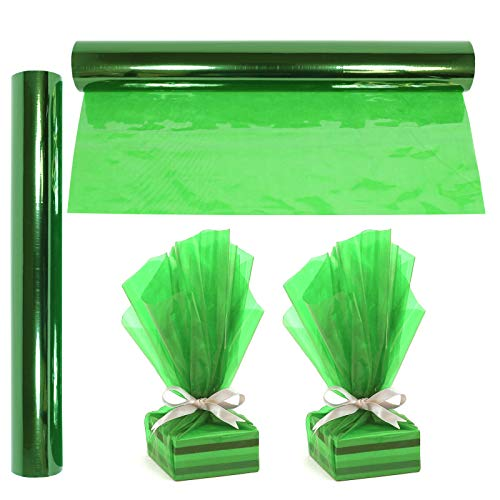 Cellophane Wrap Roll Green | 100′ Ft. Long X 16″ in. Wide | 2.3 Mil Thick Transparent Green | Gifts, Baskets, Arts & Crafts, Treats, Cellophane Wrapping Paper | Colorful Cello Christmas, Holiday Color