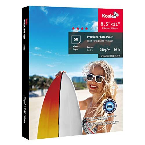 Koala Premium Photo Paper 8.5×11 inch Luster Heavyweight 66lb for inkjet printer 50 Sheets