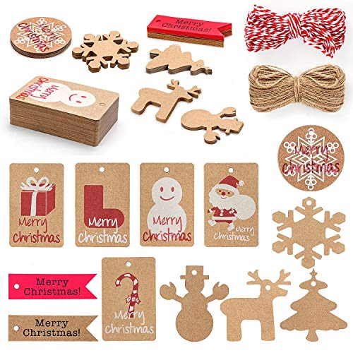 MerLerner 120 Pack Kraft Tags Christmas Gifts Hanging Paper Tags for Xmas Holiday Present Wrap 12 Brown Styles Designs with 65.6 Feet Hemp Rope/32.8 Feet Red and White Rope