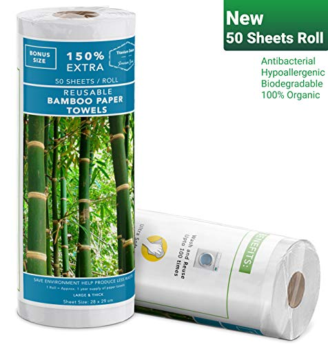 Zero Waste | Reusable Bamboo Paper Towels| 50 Sheets-Roll | Unpaper Towels | Strong & Durable | 100% Biodegradable & Organic |1 Roll = 1 Year Supply of Paper Towels | Machine Washable