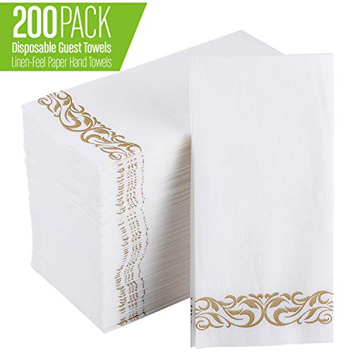 200 Pack Disposable Guest Towels Soft and Absorbent Linen-Feel Paper Hand Towels Durable Decorative Bathroom Hand Napkins for Kitchen,Parties,Weddings,Dinners or Events,White and Gold