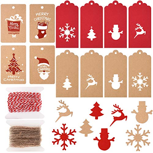 TUPARKA 200 Pcs Christmas Paper Tags Kraft Gift Tags Hang Labels Christmas Tree Snowflake Elk for DIY Christmas Gift Label Package Name Card,12 Styles