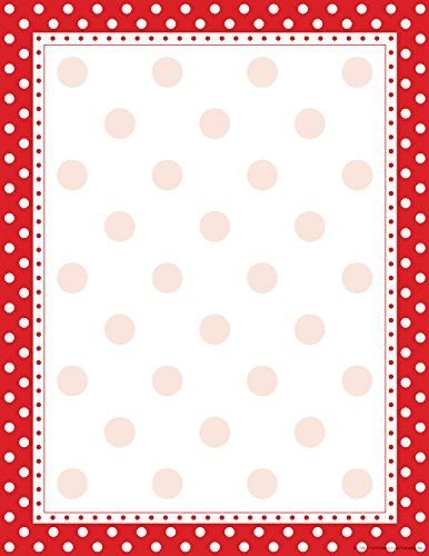 Barker Creek 8-1/2 x 11 Designer Computer Paper, Red & White Dot, 50-Sheets LL-716