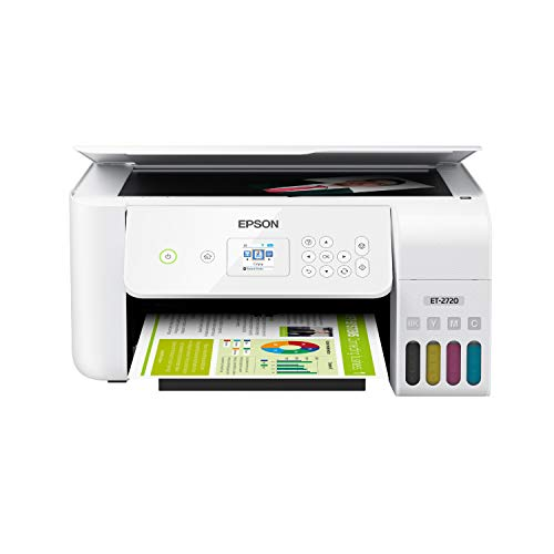 White – Epson EcoTank ET-2720 Wireless Color All-in-One Supertank Printer with Scanner and Copier