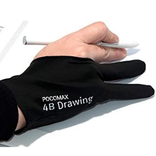 Excellent Stitching with High Tenacity Sewing Tread Drawing Gloves for Tablet Art Creation and Pencil Drawing black