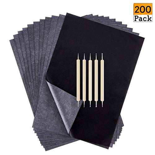 200 Sheets Transfer Tracing Paper Carbon Graphite Paper and 5 Pcs Embossing Styluses Stylus Dotting Tools for Paper, Metal, Glass, Carving, DIY Wood Burning Transfer Craft