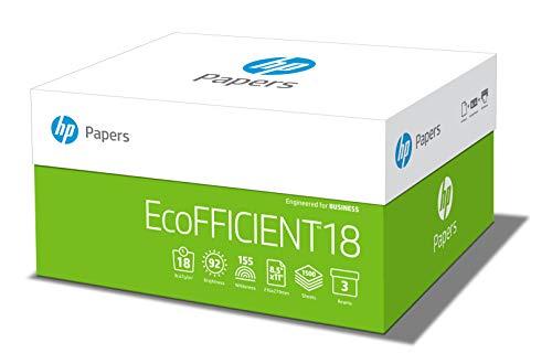 HP Printer Paper, EcoFFICIENT18 Paper, 8.5 x 11 Paper, Letter Size, 18lb Paper, 92 Bright, 3 Ream Case / 1,500 Sheets 088400C Acid Free Paper