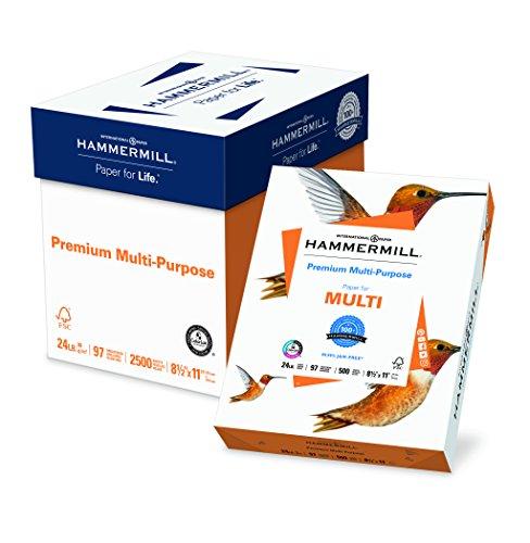 Hammermill Copy Paper, 8-1/2″X11″, 24lb, 97Bright, 2500SH/CT, WE