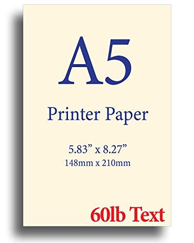 8.3″x 5.83″ – Natural Cream A5 Printer Paper – 60lb Text 90 gsm – 250 Sheets