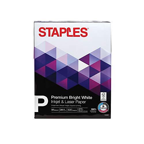 Staples Inkjet Paper, 8 1/2″ x 11″, Bright White, Ream