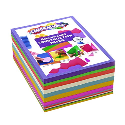 Colorations BRITESTK Bright Construction Paper Smart Pack Multicolor Variety Pack Classroom Supplies for Kids Pack of 600