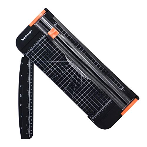 A4 Paper Craft Cutter with Security Blade for Cut Gift Card, Coupon, Label, Cardstock, Photo, 12 inch Black Office Paper Trimmer – WORKLION Paper Cutter