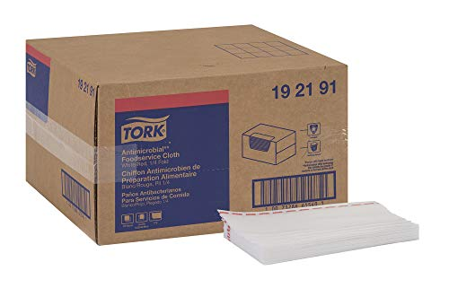 Tork 192191 Odor Resistant Foodservice Towel, 1/4 Fold, 13″ Width x 24″ Length, White/Red Stripe Case of 1 Box, 150 Towels per Box