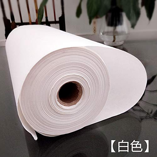 35 cm x 100 m 13.78 x 3937 inch, Half Sheng Shu Half Raw Ripe Xuan – MEGREZ Painting Writing Roll Xuan Paper Thickening Rice Sumi Paper for Practice Chinese Japanese Calligraphy Brush Drawing without Grids