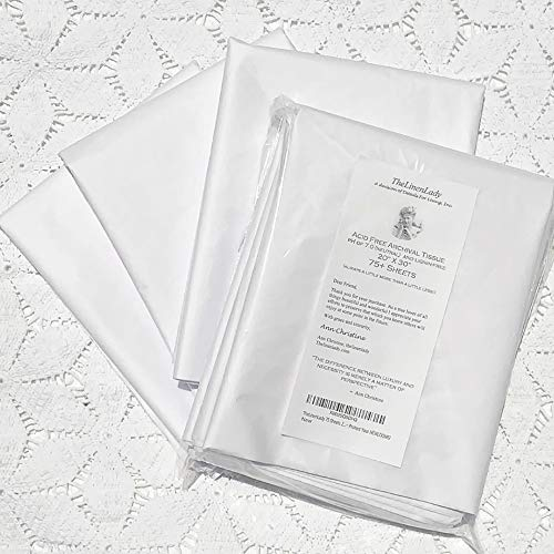 75 Sheets 20″x30″ Acid Free Archival Tissue paper TheLinenLady Lignin Free~ Protect Your HEIRLOOMS!
