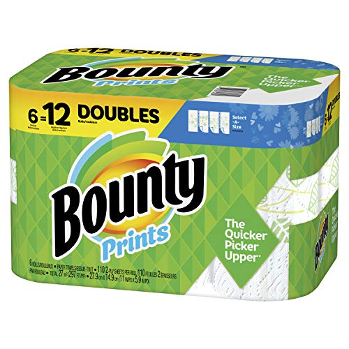 Bounty Select-A-Size Paper Towels, Print, 6 Double Rolls = 12 Regular Rolls, Prime Pantry Packaging May Vary