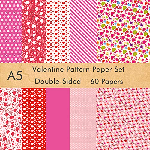 FEPITO 60 Sheets Valentine Pattern Paper Set, 14 x 21cm Decorative Paper for Card Making Scrapbook Decoration Valentine's Day Supplies,10 Designs