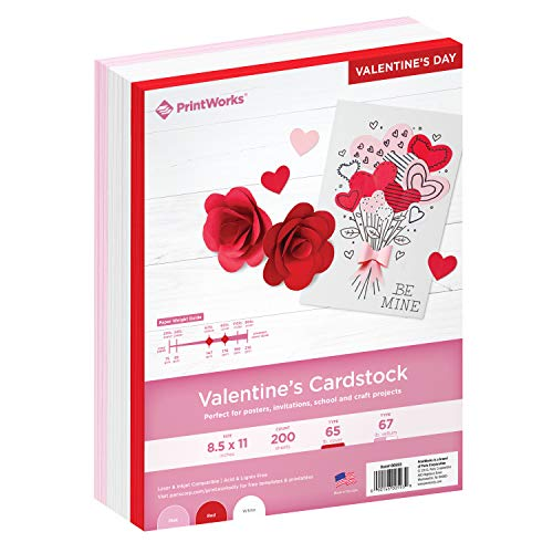 Printworks Valentine Cardstock Collection, 67lb Heavyweight Cardstock, Includes Red, Pink, and White Cardstock, 200 sheets total, Perfect for Cards, Hearts & Crafts