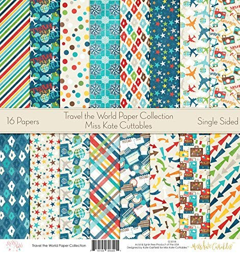 Travel The World – by Miss Kate Cuttables – Pattern Paper Pack – Scrapbook Specialty Paper Single-Sided 12″x12″ Collection Includes 16 Sheets