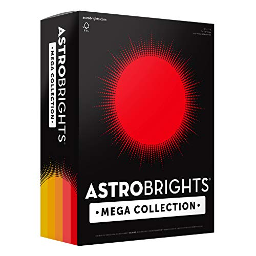 """Astrobrights Mega Collection Colored Cardstock, 8 ½ x 11, 65 lb/176 GSM, """"Sunny"""" 5-Color Assortment, 320 CT. 91704″Amazon Exclusive"""" – More Sheets!"""