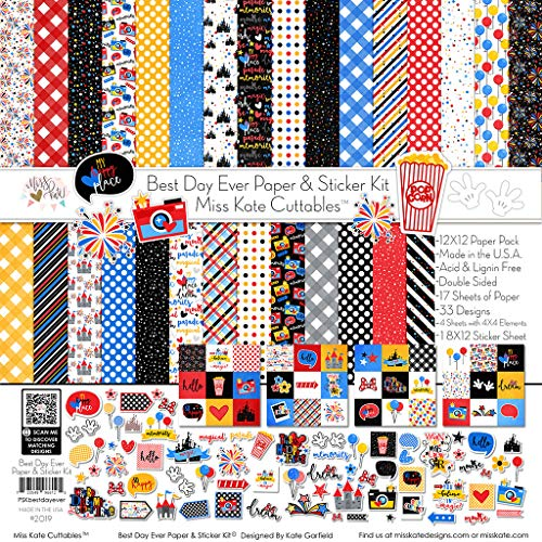 17 Double-Sided 12×12 Papers with 33 Designs & 1 8X12 Sticker Sheet – Scrapbooking Card Making Crafting – Best Day Ever for Disney – Paper & Sticker Kit – by Miss Kate Cuttables