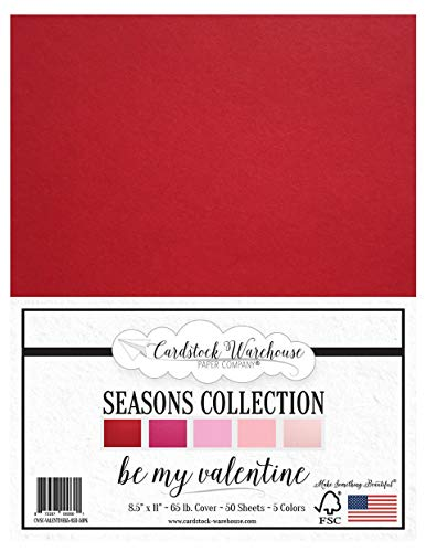 50 Sheets from Cardstock Warehouse – Be My Valentine – 8.5 x 11 inch 65 lb Cover Cardstock – Multi-Pack Assortment