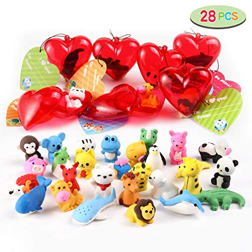 28 Packs Kids Valentines Party Favors Set Includes 28 Animal Erasers Filled Hearts and Valentine Cards for Kids Valentine Classroom Exchange Party Favors, Valentine Gift Exchange, Game Prizes, Carnivals Gift and School Supplies