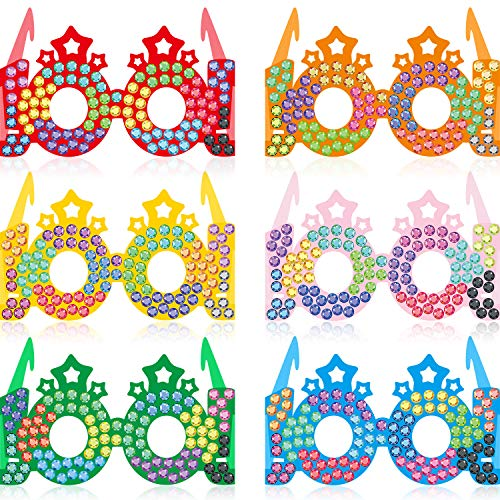 30 Pieces 100 Days Colorful Paper Glasses Crowns, 100th Day of School Glasses Rhinestones Star Paper Glitter Party Eye Glasses for 100 Days of School Celebration Party Favors, 6.4 x 4.9 x 3.3 Inch