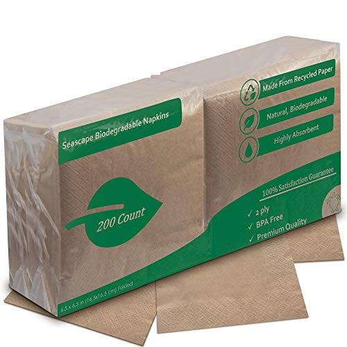 Eco Friendly Recycled Dinner Napkins | Unbleached Highly Biodegradable Brown Napkin | 2 Ply, 6.5 x 6.5 Inches Folded 200 Pack