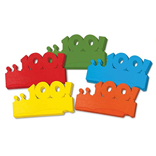 Chenille Kraft 100 Days Paper Crowns, 5 Colors, 25-Piece