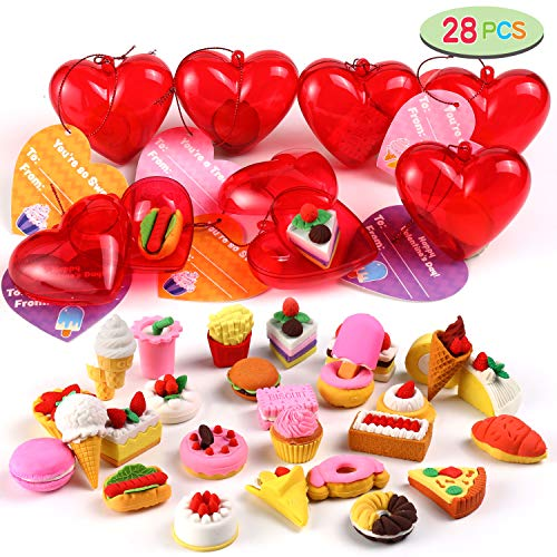 28 Pcs Kids Valentines Party Favors Set Includes 28 Food Erasers Filled Hearts and Valentine Cards for Kids Valentine Classroom Exchange, Valentine Gift Exchange, Game Prizes, Carnivals Gift and School Supplies