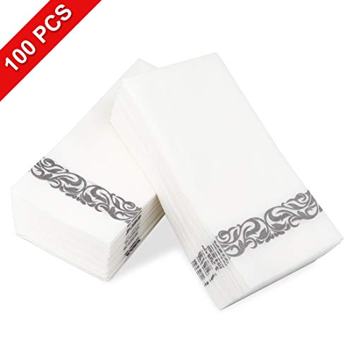 Disposable Hand Towels & Decorative Bathroom Napkins Soft and Absorbent Linen-Feel Paper Guest Towels for Kitchen Parties Weddings Dinners or Events White Gold Silver 100pcs Silver 01, 100pcs