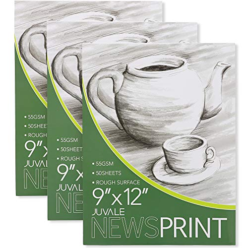 Juvale Newsprint Drawing Paper Pads 3 Pack, 50 Sheets