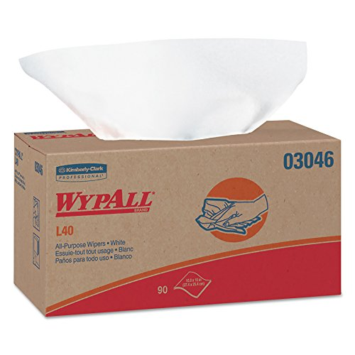 WypAll 03046 L40 Towels, POP-UP Box, White, 10 4/5 x 10, 90 per Box Case of 9 Boxes