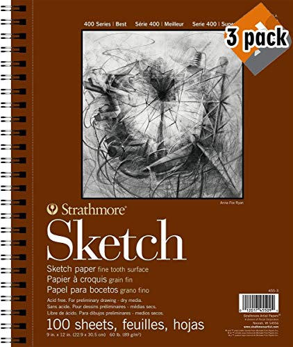 Strathmore 400 Series Sketch Pad, 9″x12″ Wire Bound, 100 Sheets – 3 Pack