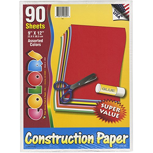 Made in the USA – Construction Paper Pack – 9 x 12 inches – 90 sheets – Assorted Colors