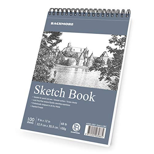 Bachmore Sketchpad 9X12″ Inch 68lb/100g, 100 Sheets of TOP Spiral Bound Sketch Book for Artist Pro & Amateurs | Marker Art, Colored Pencil, Charcoal for Sketching
